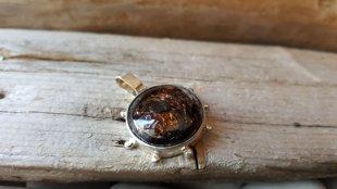 Ekstra klases Astrofilīta kulons sudraba krāsas ietvarā nr 2. Kulona izmērs 2 cm. Ar savu zeltaino mirdzumu šis minerālis uzmundrinās noskumušu cilvēku.